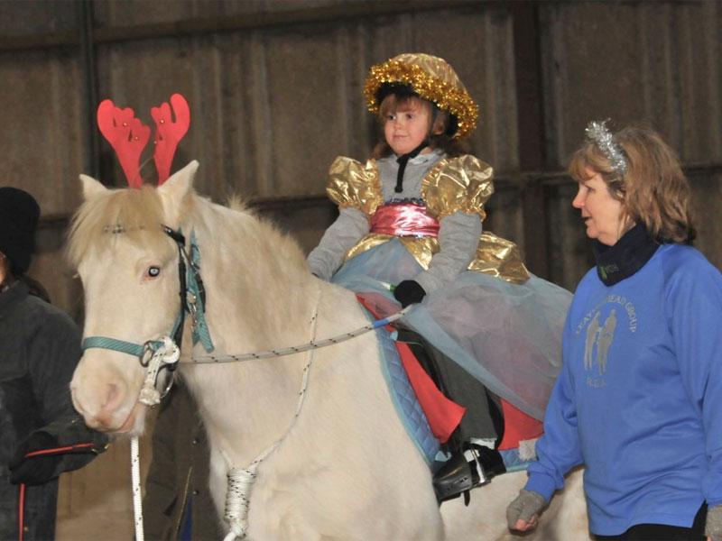 Girl on grey pony dressed as a sugar plum fairy