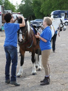 Two volunteers getting a coloured pony ready at South East Region Fun Day