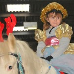 Girl on grey pony dressed as a sugar plum fairy